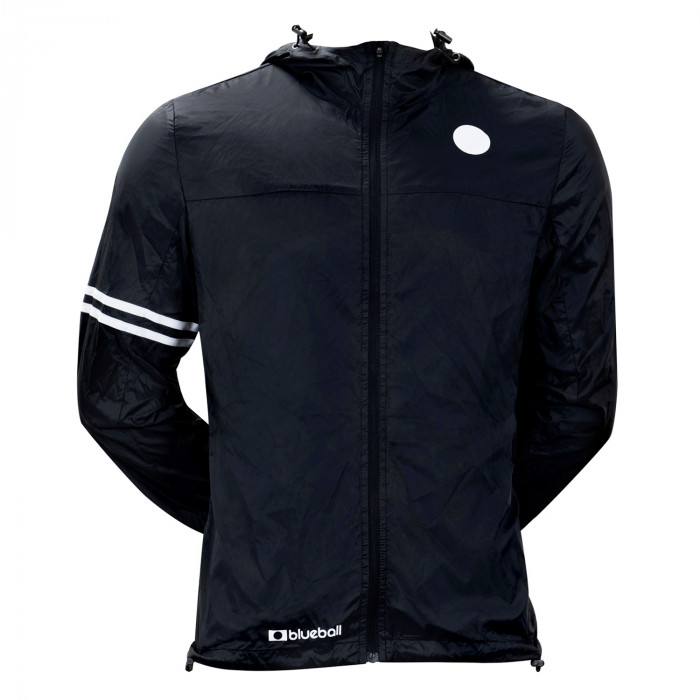 cycling black windbreaker jacket with hood front