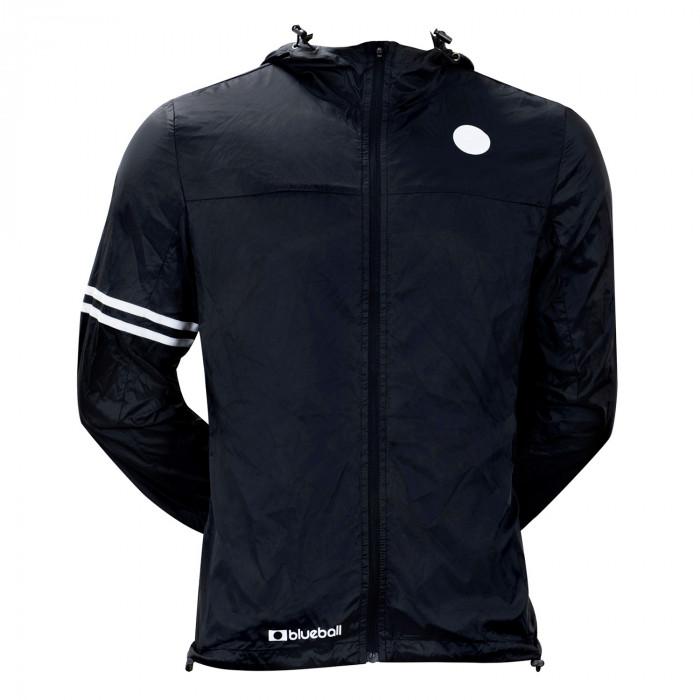 cycling black windbreaker jacket with hood front