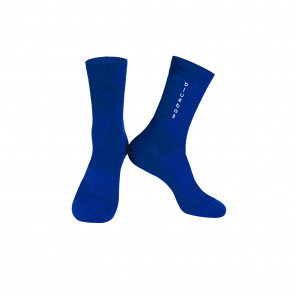 Blue with white logo Knitting socks