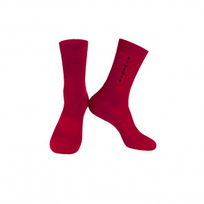 Red with black logo Knitting socks